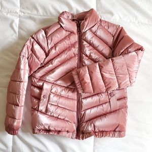 Zara Kids Pink Metallic Puffer Coat